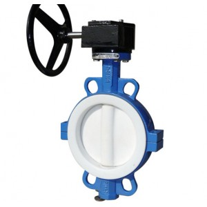 Full PTFE/PFA Line Wafer Butterfly Valve two pc body