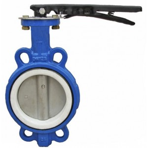PTFE Line Wafer Butterfly Valve one pc bod