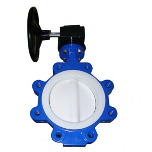 PTFE coated split body lug butterfly valve/Teflon seat lug butterfly valve